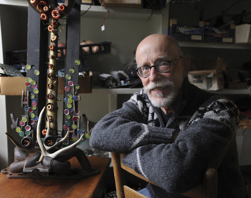 Howard Solomon, who had a distinguished academic career, has turned his attention to creating found-object sculptures at his studio in Bowdoinham.