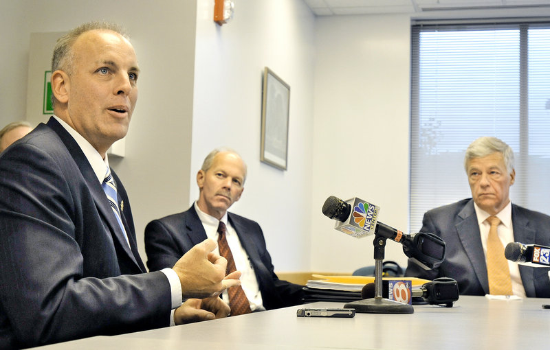 "Michael Wardrop of the Maine Drug Enforcement Agency, from left, meets with Bangor Police Chief Ron Gastia and U.S. Rep. Mike Michaud at the Cumberland County Sheriff's Office on Thursday to discuss the dangers of the illegal new drug called ""bath salts."""