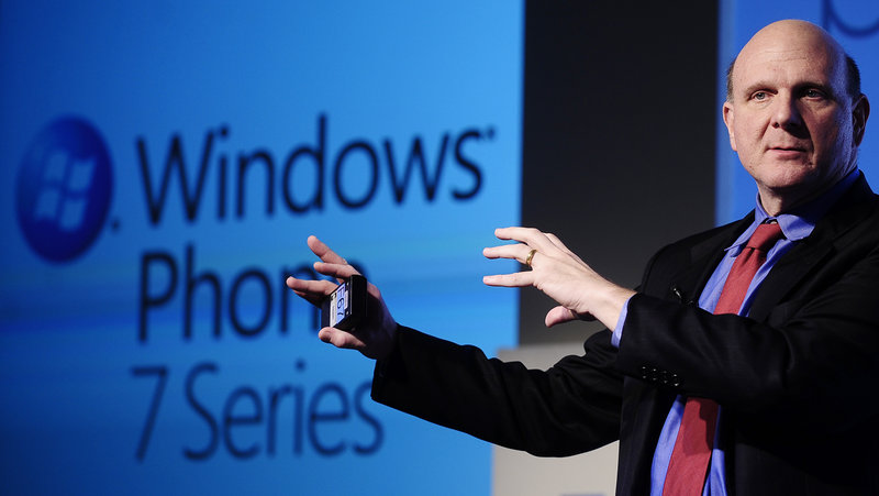 Microsoft CEO Steve Ballmer presents Windows Phone 7 in February in Barcelona. Microsoft's earnings for the third quarter rose 6 percent, highlighted by growth in the division that includes Windows. It was the first year-over-year gain in Windows revenue since the end of 2010.