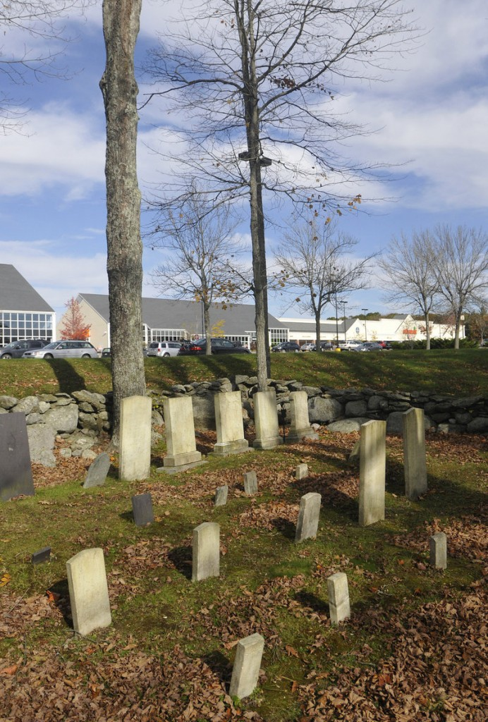 The cemetery in front of Shaw's and the Freeport Crossing shopping plaza.