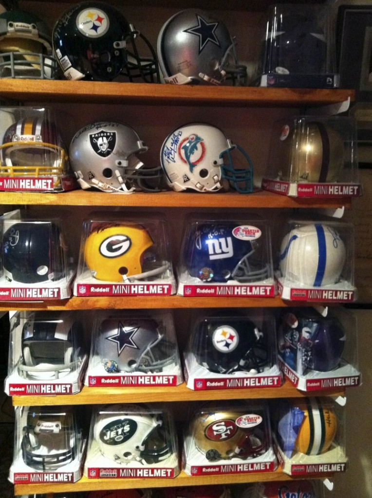 This collection of sports mini-helmets is in the New York home of Wendy Williams. The collection belongs to her husband, Ken Koch.