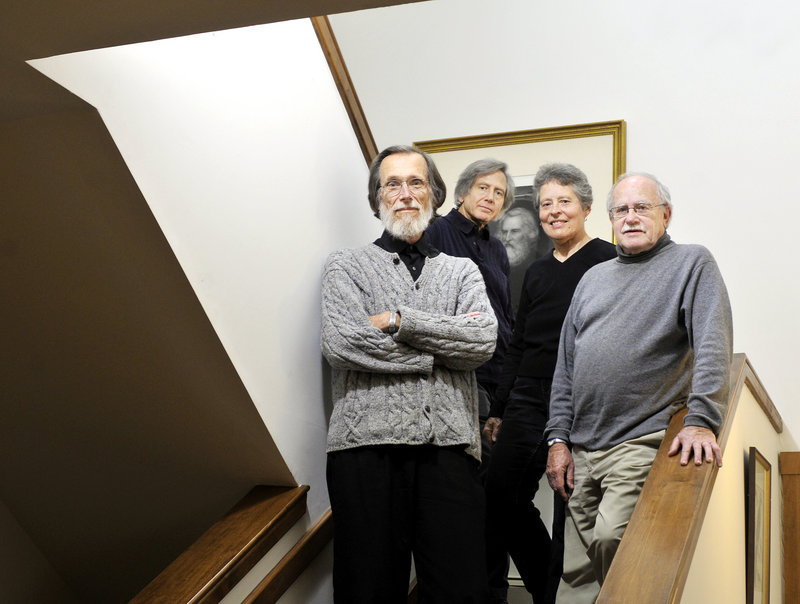 The Portland String Quartet is, from left, first violin Stephen Kecskemethy, second violin Ronald Lantz, viola Julia Adams and cello Paul Ross. Behind them is a signed portrait of Henry Wadsworth Longfellow.