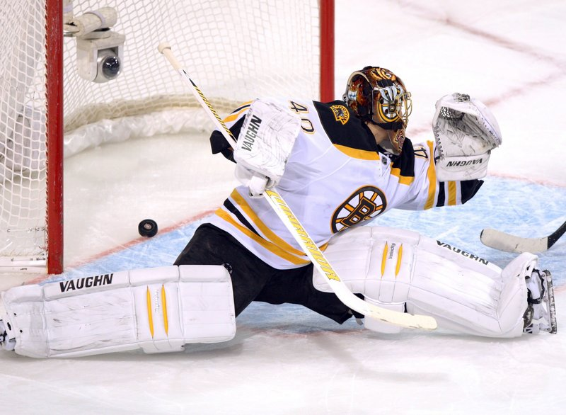 Tuuka Rask lets in the second goal from the Montreal Canadiens during Montreal's 4-2 win over Boston on Saturday.