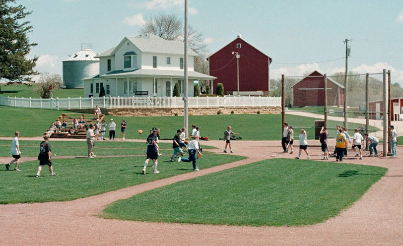 "This 1999 photo shows East Dubuque, Ill., eighth-graders playing baseball on the site near Dyersville, Iowa, made famous by the movie ""Field of Dreams."" The property's new owners plan a baseball and softball complex there."