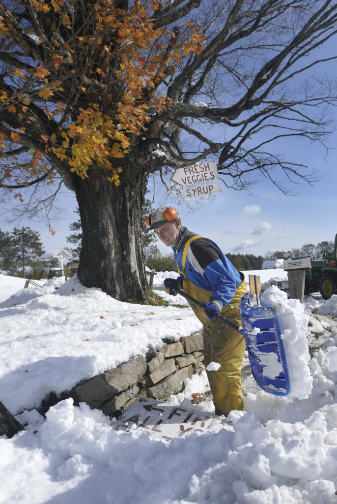 With leaves still on a maple tree behind him, Drew Klein-Robbenhaar of K-R Farm in Acton shovels a path in front of his farm stand Sunday.