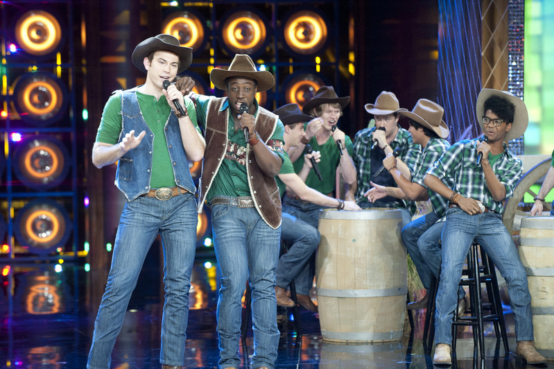 Michael Odokara-Okigbo of Portland, second from left, performs Monday night with the Dartmouth Aires on NBC's