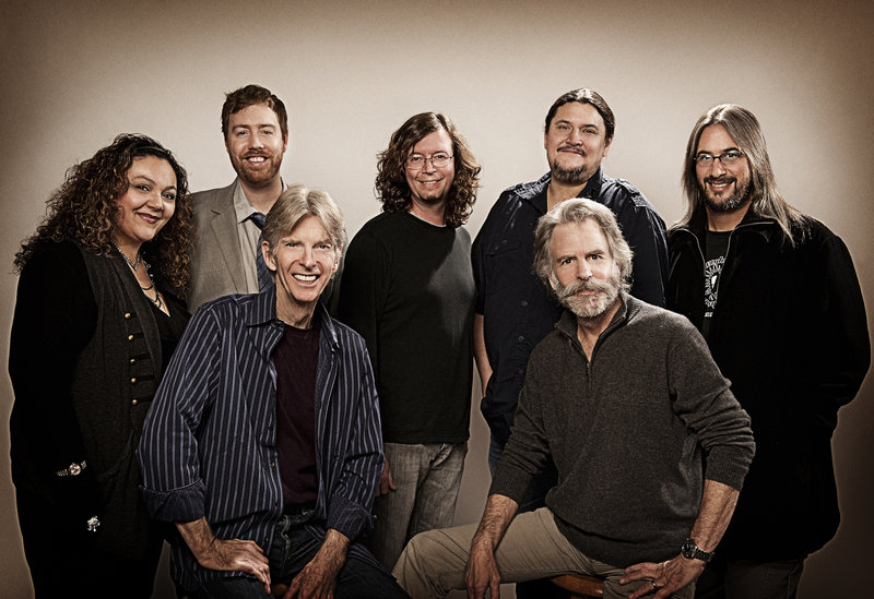 Seated in front: Phil Lesh, Bob Weir. Standing, from left: Sunshine Becker, Joe Russo, John Kadlecik, Jeff Pehrson, Jeff Chimenti.