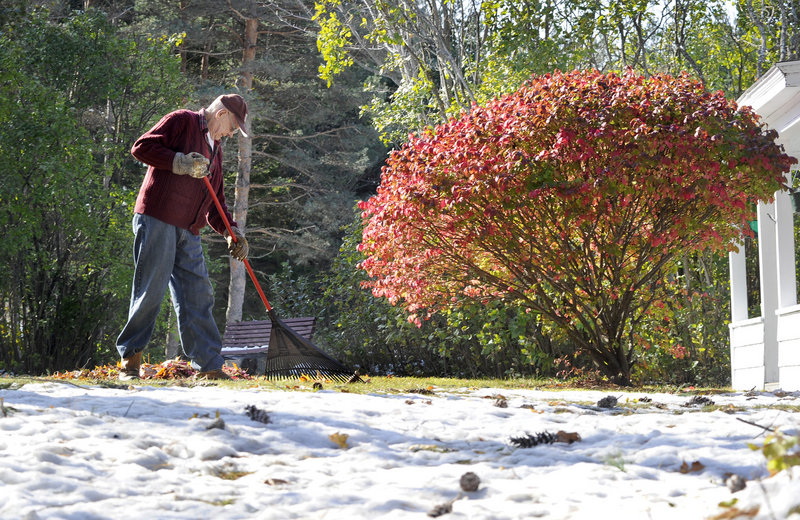 Windham resident Kermit Hodgdon doesn't let a little snow stop him from raking leaves in his yard along Route 202 on Monday. More raking weather is in store for the rest of this week with sunny skies and moderate temperatures.