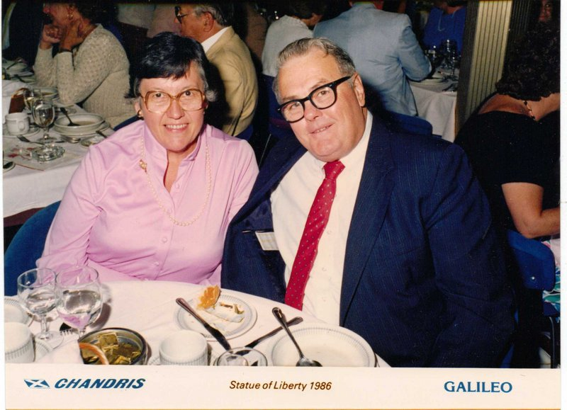 Ellen Parady and her husband, George, are shown on a Mediterranean cruise in 1986. They loved to travel.