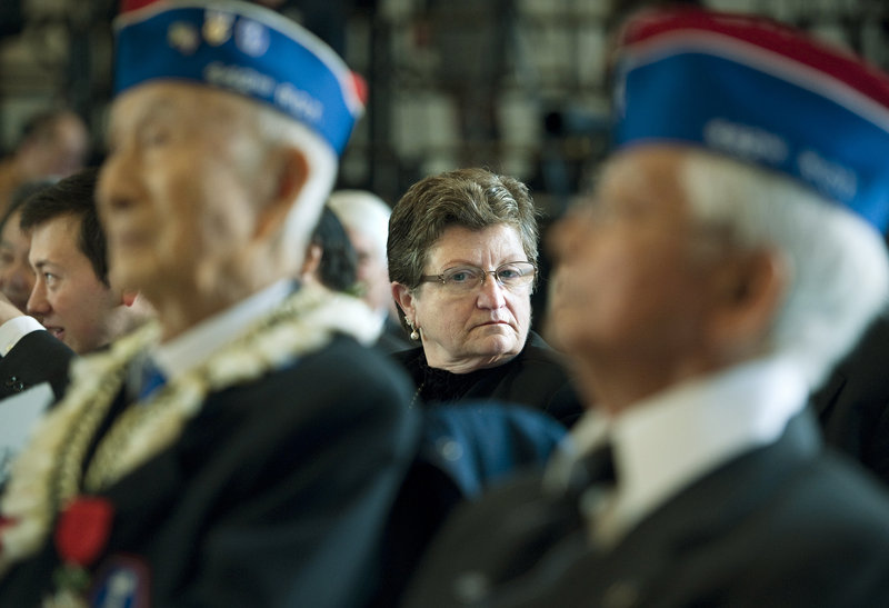 Jan Barrett of Lewiston attends a ceremony Wednesday in Washington at which her father, Army Lt. Thomas Plourde was honored posthumously with the Congressional Gold Medal. The award went to World War II military leaders and Japanese-American veterans of the 100th Infantry Battalion, 442nd Regimental Combat Team, as well as the Military Intelligence Service.