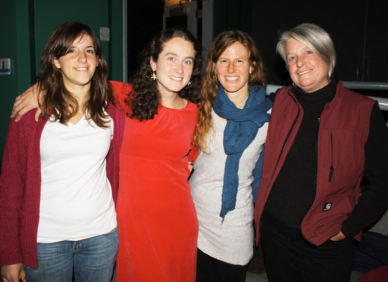 """Cory Tamler, the """"Of Farms and Fables"""" playwright, Jennie Hahn, who runs Open Water Theatre Arts, Stacy Brenner of Broadturn Farm, and Penny Jordan of Jordan's Farm, who performed in the play."""