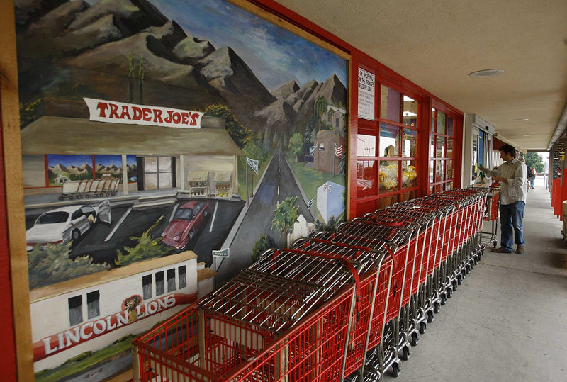 Carts are lined up at a Trader Joe's store in La Crescenta, Calif., that's slated for closing when the chain opens a larger location nearby.