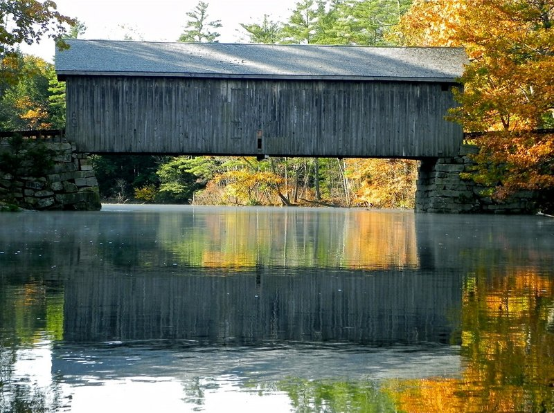 The Babb covered bridge on the Presumpscot River in Windham is one of the nine covered bridges remaining in Maine from a high of 120. It was destroyed by arsonists in 1973, then rebuilt and rededicated in 1976.