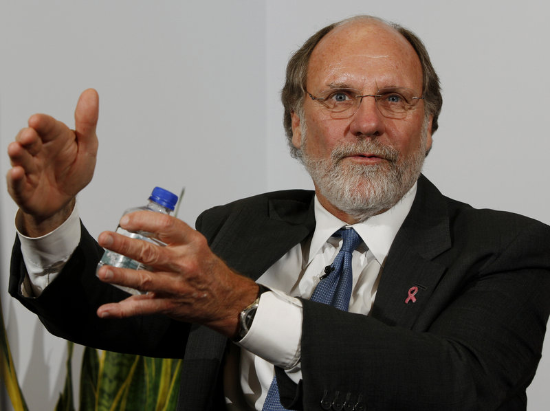 Then New Jersey Gov. Jon S. Corzine answers a question during an interview in 2009.