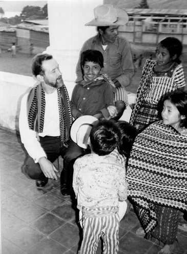 Photos via Facebook The Rev. Stanley Rother talks with parishioners in Santiago Atitlan, Guatemala, in an undated photo.