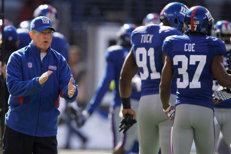 Tom Coughlin and the Giants are in first place in the NFC East with a 5-2 record heading into today's game at New England, which is tied for first in the AFC East, also at 5-2.