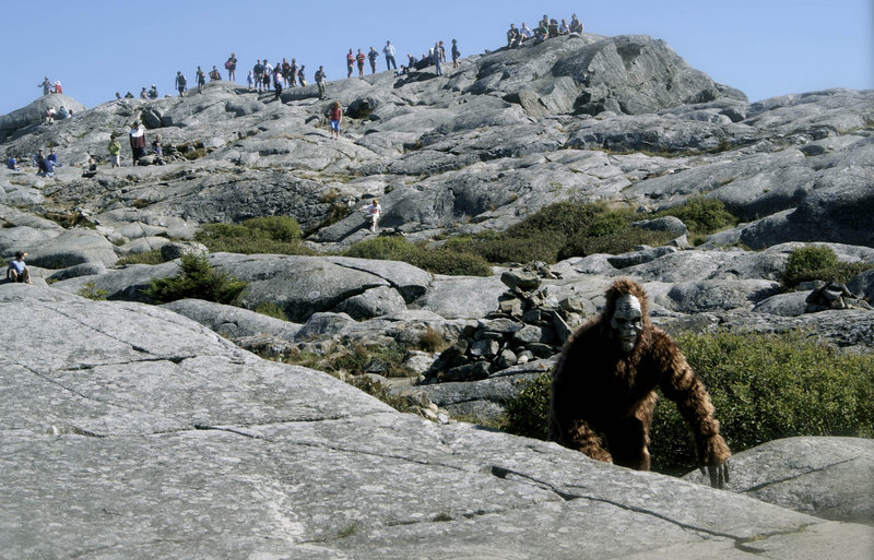 "Jonathan Doyle wears his Bigfoot costume on Mount Monadnock in Jaffrey, N.H., in this Sept. 6, 2009, file photo. Doyle, an amateur filmmaker, recorded the ""sighting"" on video, but when he and his small crew returned to shoot a sequel, they were denied access to the state park because they hadn't applied for a $100 special-use permit 30 days in advance."