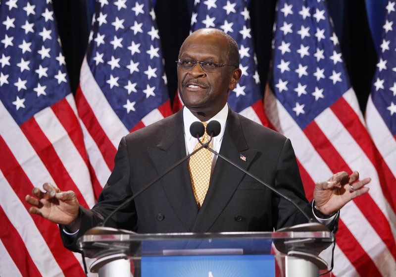 Herman Cain speaks Tuesday in Arizona. Cain said he'd never seen Sharon Bialek before Monday, when she claimed he made an unwanted sexual advance against her in 1997.
