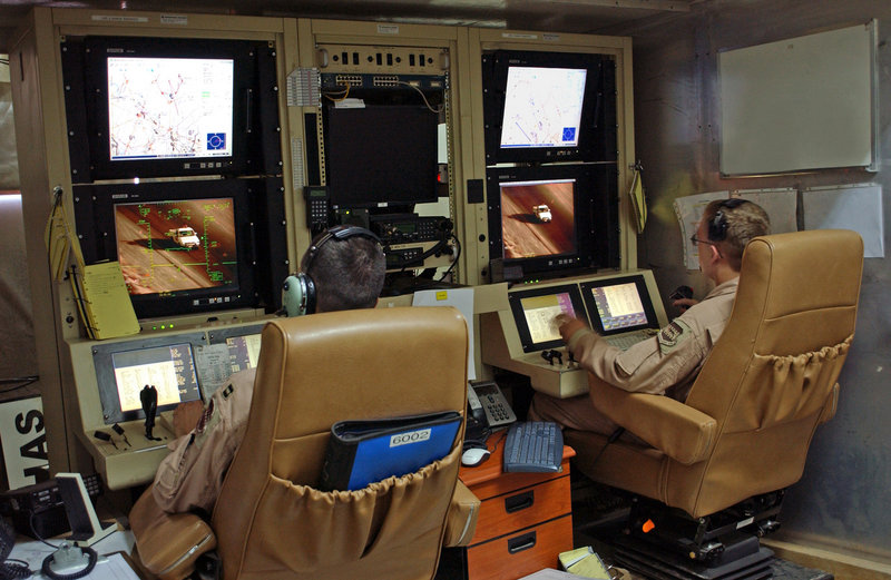 This image provided by the U.S. Air Force shows a control room located in Iraq used to launch drone attacks.