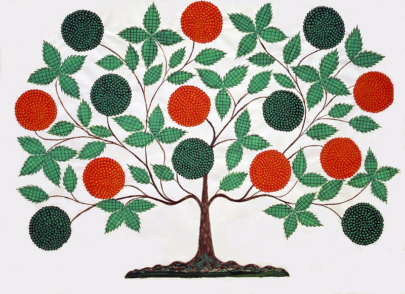"""Tree of Life"" needlework from the exhibition of Shaker items at the Portland Museum of Art."