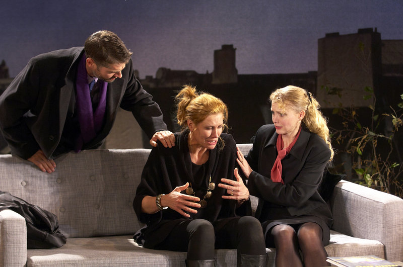 "Scott Barrow, Kate Udall and Amy Bodnar in ""God of Carnage"" at Portland Stage."