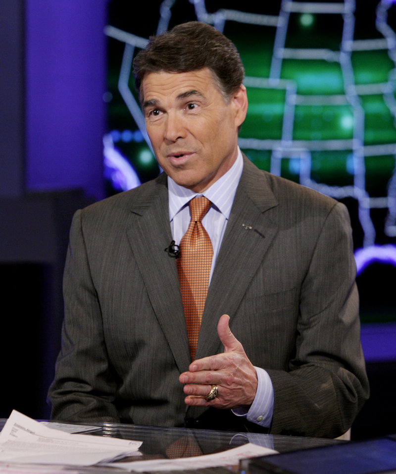 """Texas Gov. Rick Perry gives an interview on the """"America Live"""" program on the Fox News Channel in New York on Thursday."""