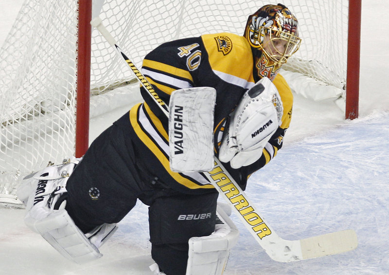 Tuukka Rask makes one of his 27 saves Thursday night in a 6-3 win over Edmonton. Rask has won back-to-back games for the Bruins after losing his first three starts.