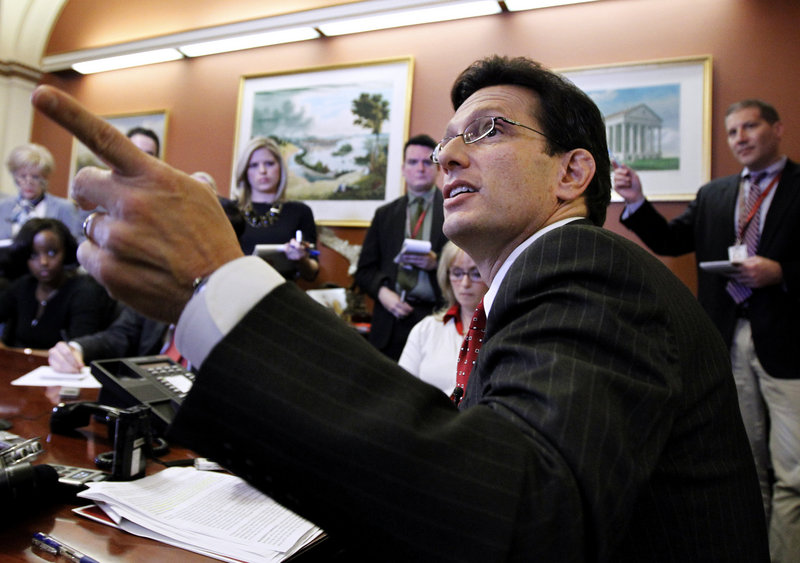 "House Majority Leader Eric Cantor holds a news briefing Monday on Capitol Hill. He told reporters that ""I'm not going to be opining as to any reports, hypotheticals or anything connected with"" the work of the supercommittee, such as a GOP plan to raise revenue."