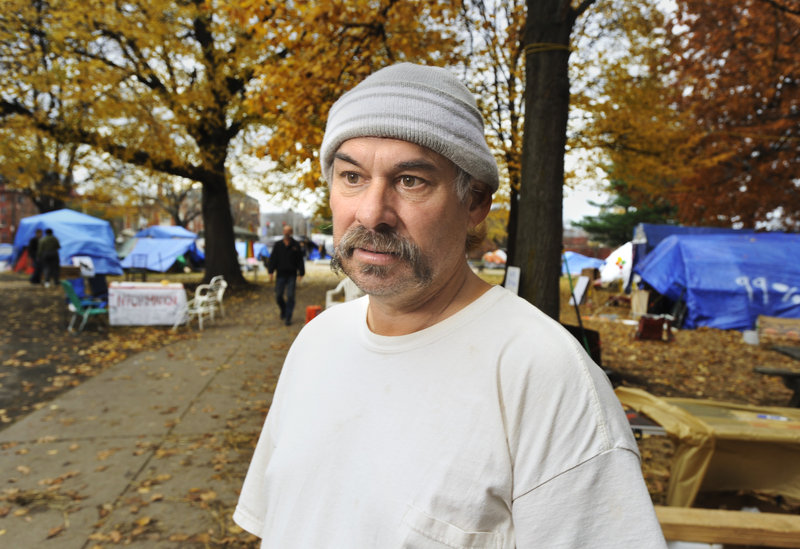 Deese Hamilton says he has been at Occupy Maine's Lincoln Park encampment since the beginning. Hamilton thinks the biggest threat to the staying power of the encampment is the elements, not authorities cracking down on the protesters.