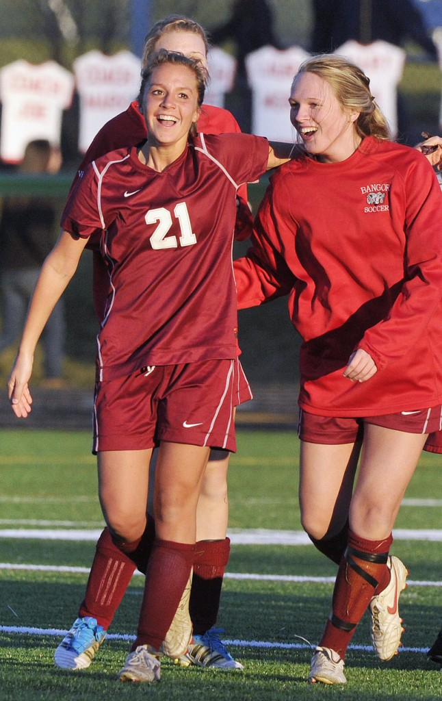 Ashley Robinson of Bangor, left, took it upon herself to lead Bangor back to the state final after a loss last season. And that's what happened. And this time the Rams won.
