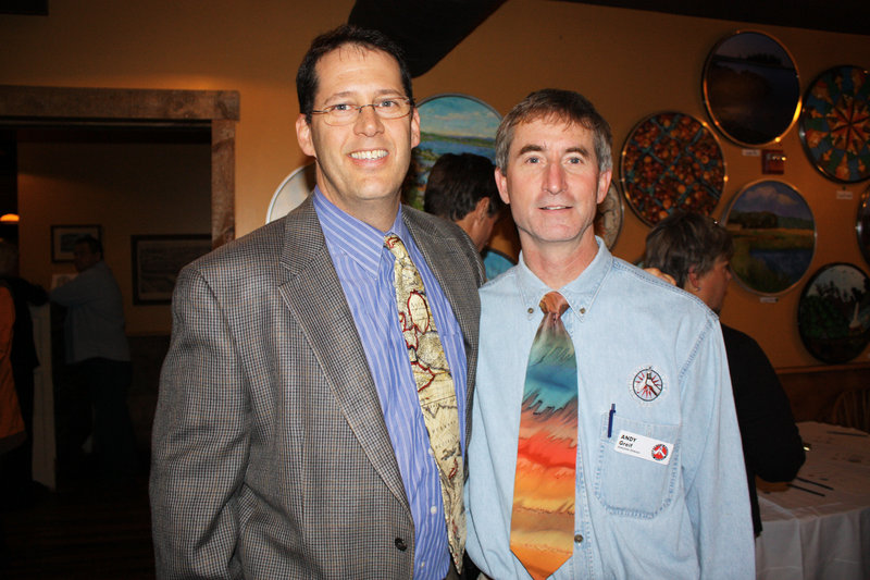 Britt Wolfe, principal of Biddeford High School and a bike center volunteer, and the center's executive director Andy Greif.