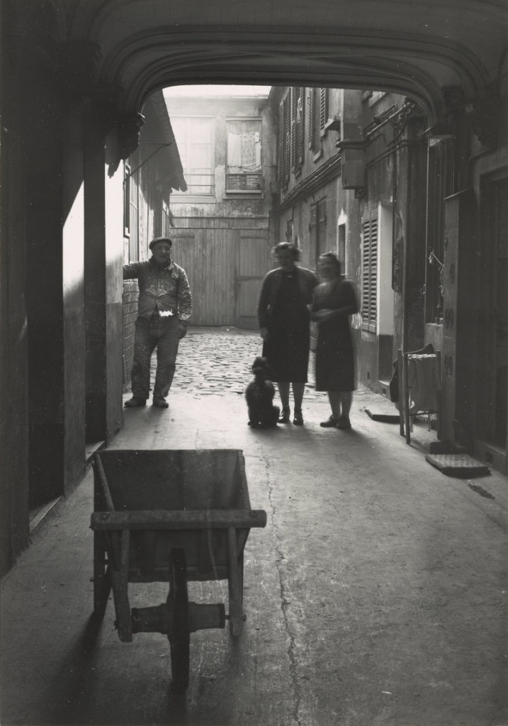 """Cour de Commerce, Paris (3 people in alleyway),"" 1948, vintage gelatin silver print on paper."