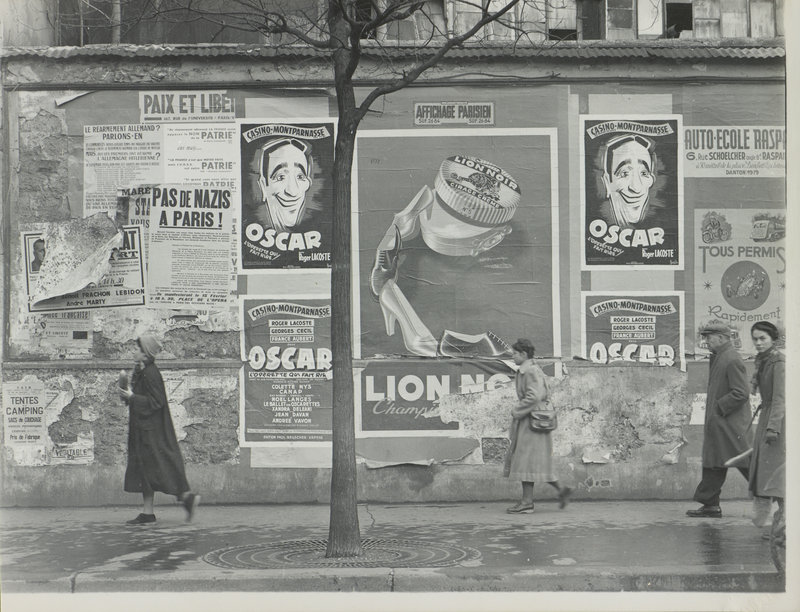 """Rue Alesia, Paris (Oscar billboards),"" 1951, gelatin silver print on paper."