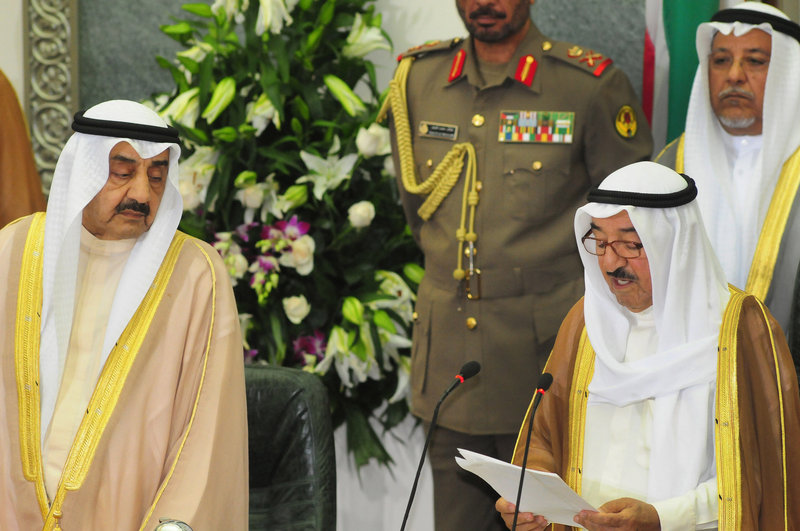 The emir of Kuwait, Sheikh Sabah Al Ahmad Al Sabah, right, addresses the country's parliament last month.