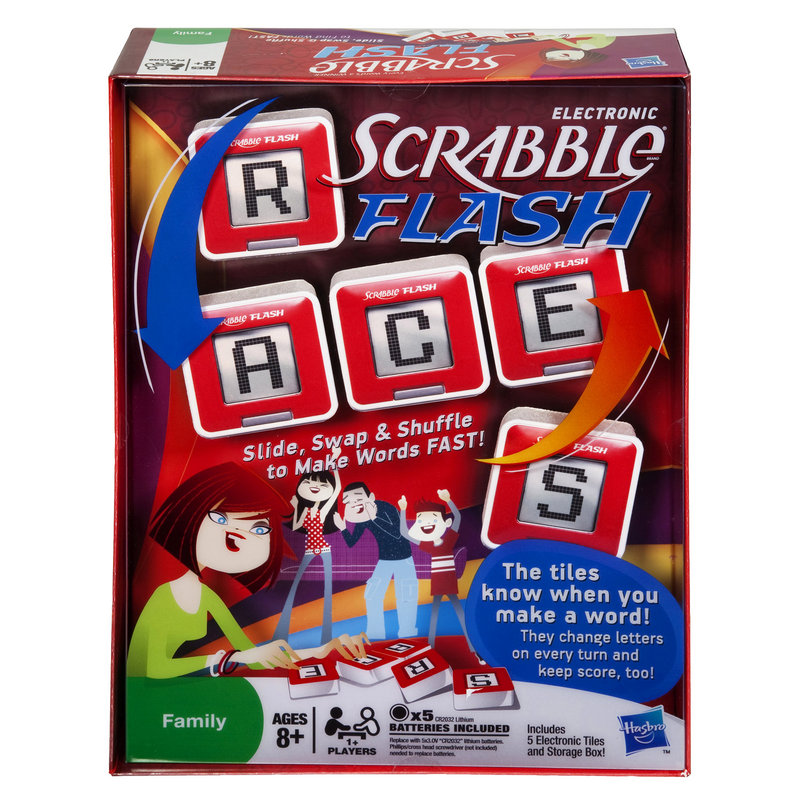 SCRABBLE FLASH: The electronic version of the classic word game recognizes when a player spells a word and keeps score so the players don't have to. Target's online price is $19.89.