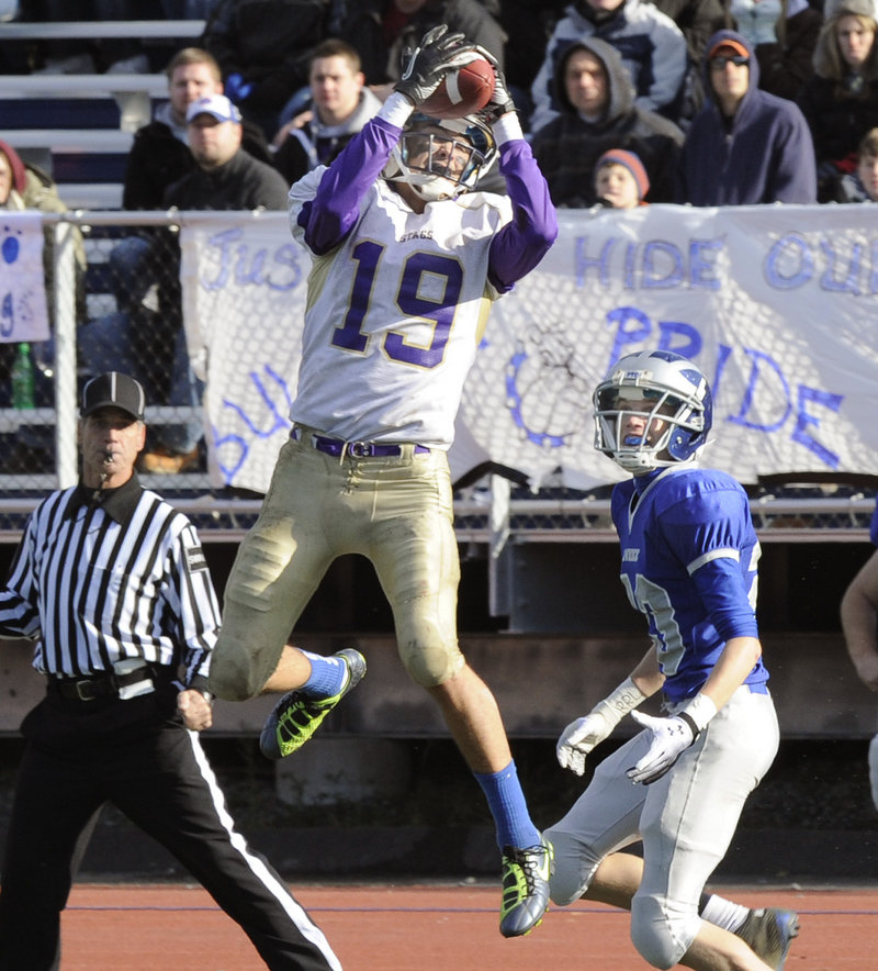 Louie DiStasio didn't just catch balls for Cheverus, he intercepted them in the 49-7 victory against Lawrence.