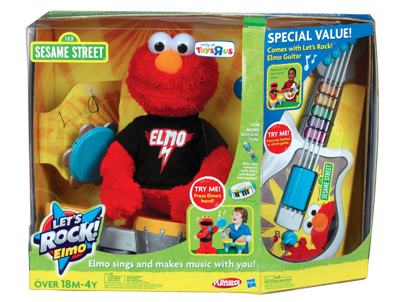 LET'S ROCK ELMO: Elmo comes with three instruments and sings six songs, and your child can choose which instrument he plays and also play along. Listed on toysrus.com for $59.99.