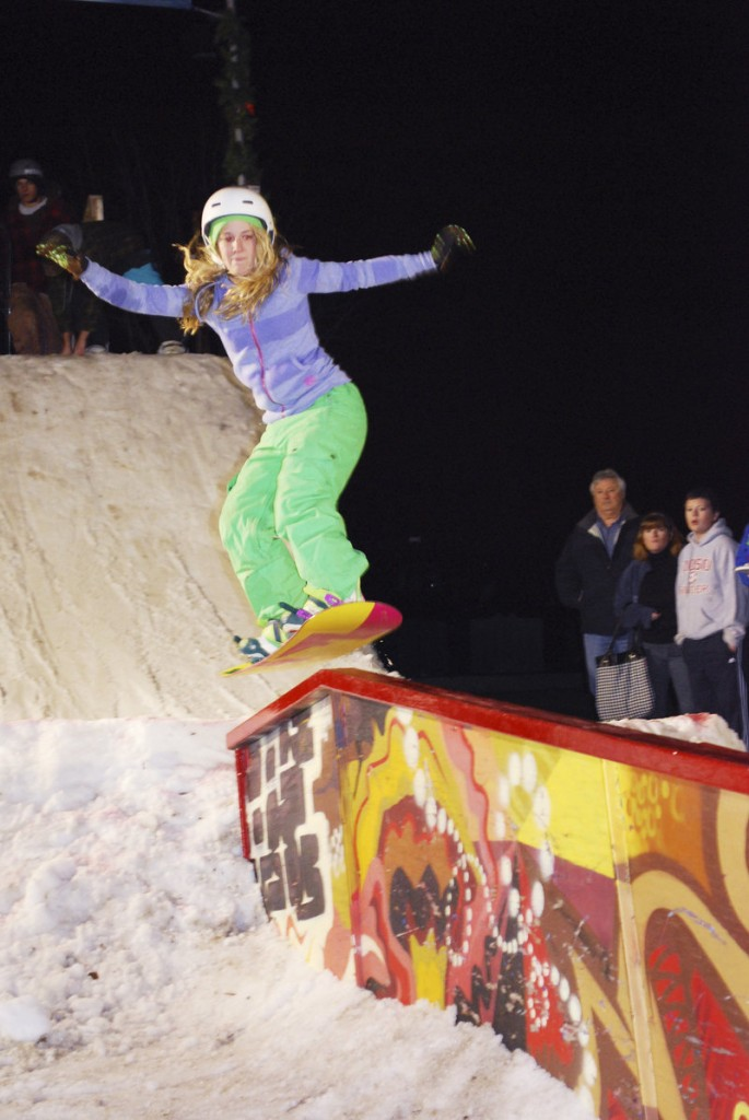 Kaleigh Price hits the rail at Kittery Trading Post on Nov. 18. Rail jam action can often be found in municipal centers and on city streets, but many of Maine's ski areas will host jams with varying levels of competition this winter.