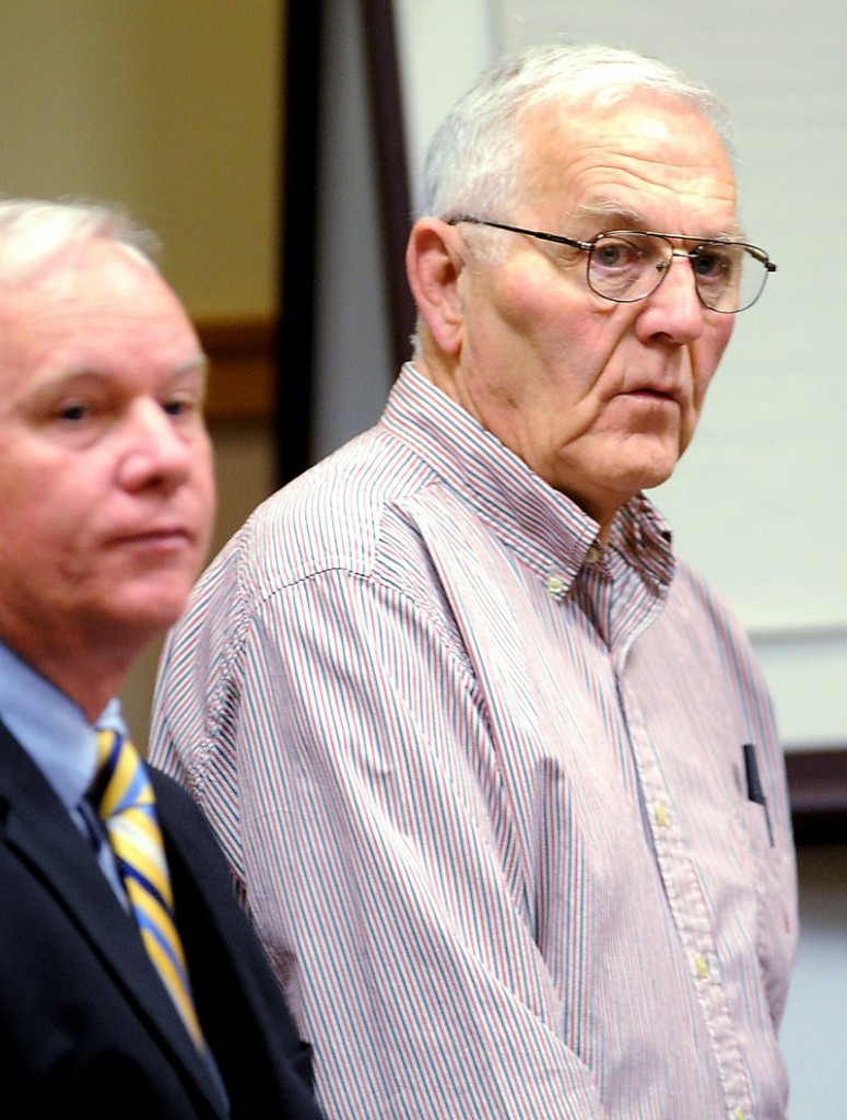 """Austin """"Jack"""" DeCoster, right, appears in a Lewiston courtroom in June 2010 to face animal cruelty charges related to the egg farm operation in Turner, Maine."""