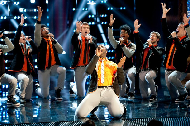 "The Dartmouth Aires perform Monday night on ""The Sing-Off."" Next week the group, featuring Waynflete graduate and lead singer Michael Odokara-Okigbo, will be competing for $200,000 in cash and a Sony Music recording contract."