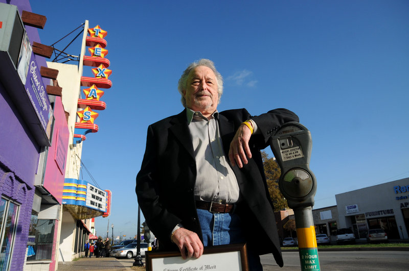 Johnny Calvin Brewer was honored on Tuesday at the Texas Theatre in Dallas, behind him, for helping police find the assassin Lee Harvey Oswald in the movie theater about 90 minutes after President Kennedy was killed on Nov. 22, 1963.
