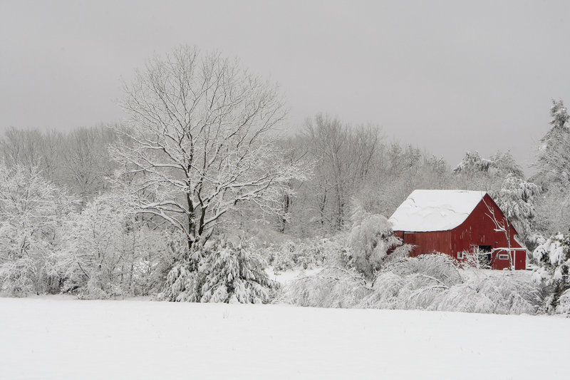 The dark color of this barn in Hollis stands in contrast to the blanket of snow that greeted parts of Maine in advance of Thanksgiving Day.