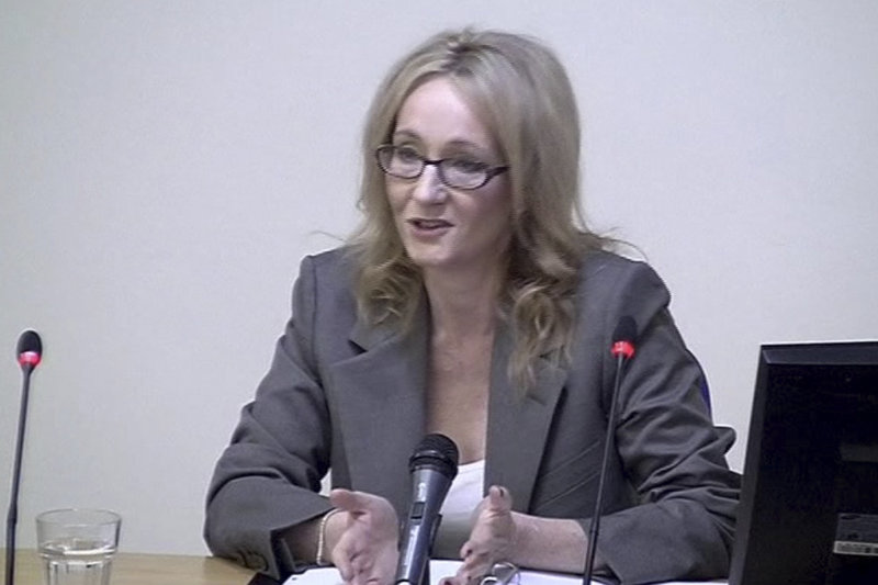 """""""Harry Potter"""" author J.K. Rowling testifies at a media ethics inquiry in London. A report after the inquiry could lead to major changes in media law in Britain."""