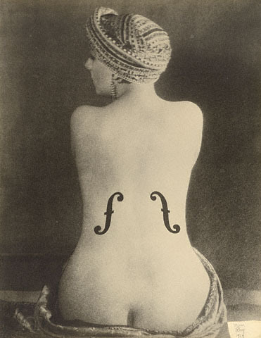 "Man Ray painted f-holes on the back of a postcard of a female nude and called it ""Violin d'Ingres."""