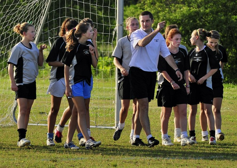 "The Seacoast United girls soccer team practices in Scarborough in a 2010 file photo. The town of Freeport's deal to lease town land to the club is a ""potential abuse of authority by town officials,"" a reader says."