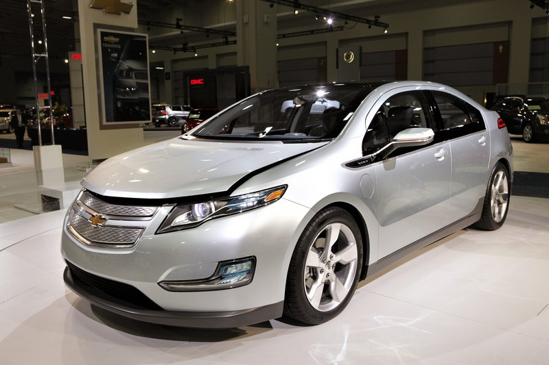 A Chevy Volt appears on display at the Washington Auto Show in Washington last year. Three battery fires in crash-tested vehicles have prompted an investigation to assess the fire risk in the all-electric cars.