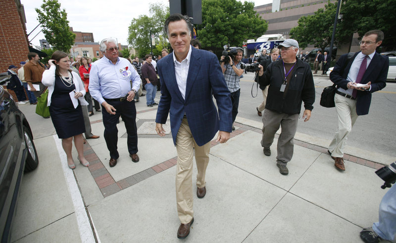 "Republican presidential candidate Mitt Romney has tried to address accusations of flip-flopping this time around by defending the health insurance mandate that he instituted while governor of Massachusetts, even though it is reviled by GOP voters. ""I've been as consistent as human beings can be,"" Romney says."