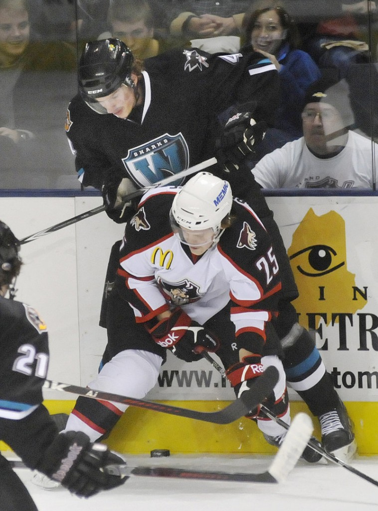 Ivan Bloodoff of the Portland Pirates attempts to gain control of the puck while checking Taylor Doherty of the Worcester Sharks along the boards.