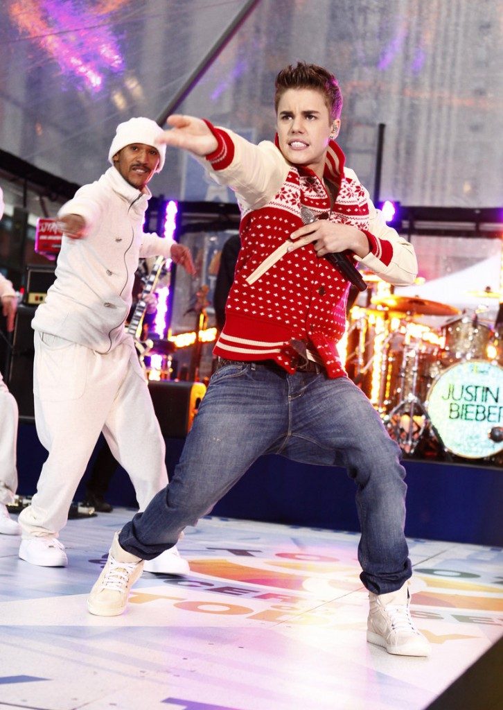 "Singer Justin Bieber performs on the ""Today"" show on Wednesday in New York. He'd grown a faint moustache as part of November's campaign on behalf of men's health issues."
