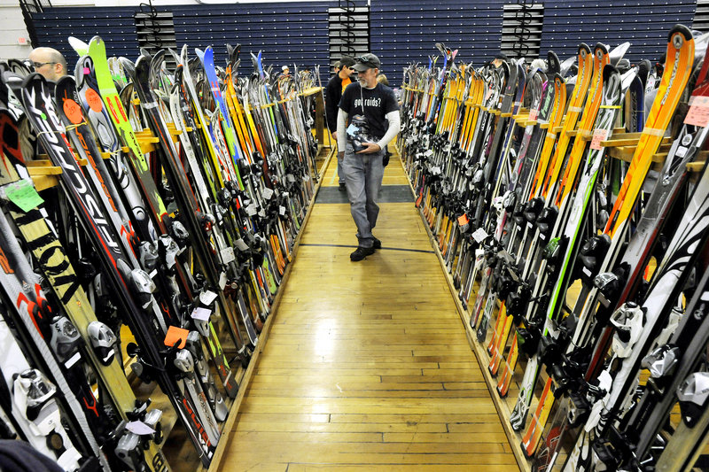 The 50th annual Down East Ski Sale, held at the Portland Expo on Saturday, featured about 10,000 items, including skis, boots, poles, bindings, goggles and accessories.